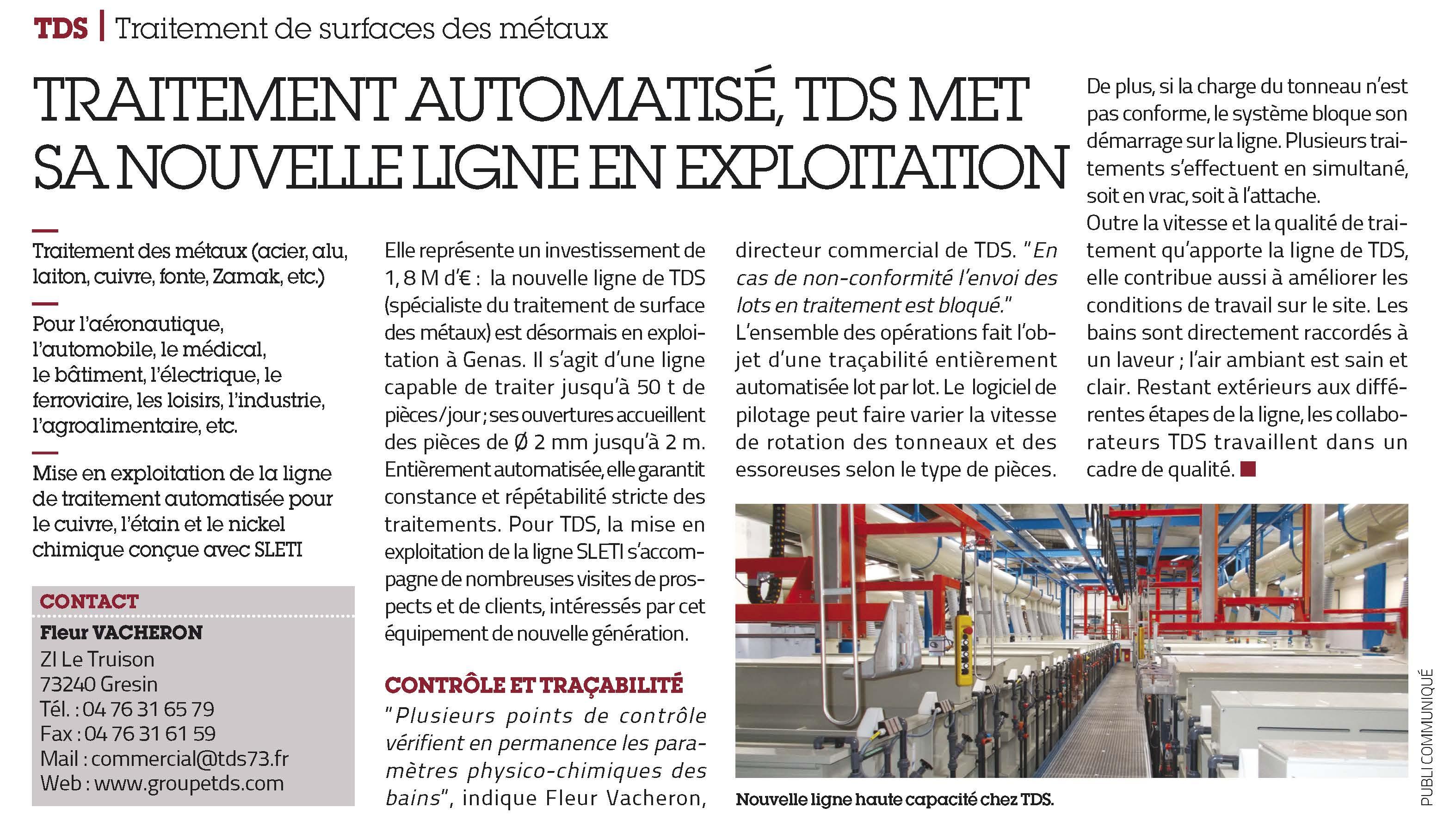 TDS article USINE NOUVELLE aero 2015